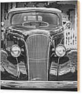1937 Chevrolet Custom Convertible Bw Wood Print