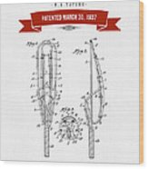 1937 Game Device Patent Drawing - Retro Red Wood Print