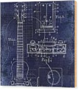 1937 Gibson Electric Guitar Patent Drawing Blue Wood Print