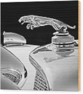1937 Jaguar Prototype Hood Ornament -386bw55 Wood Print