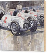 1937 Monaco Gp Team Mercedes Benz W125 Wood Print