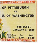 1937 Rose Bowl Ticket Wood Print