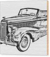 1938 Cadillac Lasalle Illustration Wood Print