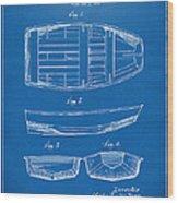 1938 Rowboat Patent Artwork - Blueprint Wood Print