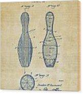 1939 Bowling Pin Patent Artwork - Vintage Wood Print