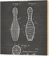 1939 Bowling Pin Patent Artwork - Gray Wood Print