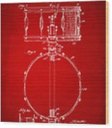 1939 Snare Drum Patent Red Wood Print