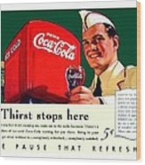 1940 - Coca-cola Advertisement - Color Wood Print