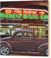 1940 Ford Deluxe Coupe At Mickeys Dinner  Wood Print