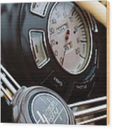 1938 Lincoln-zephyr Continental Cabriolet Steering Wheel Emblem -1817c Wood Print