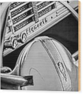 1940 Plymouth Deluxe Woody Wagon Steering Wheel Emblem -0116bw Wood Print