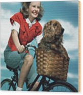 1940s 1950s Smiling Teen Girl Riding Wood Print