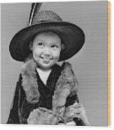 1940s Girl In Oversized Velvet Dress Wood Print