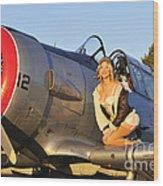 1940s Style Aviator Pin-up Girl Posing Wood Print