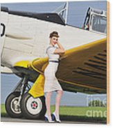 1940s Style Navy Pin-up Girl Leaning Wood Print by Christian Kieffer