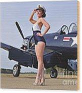 1940s Style Navy Pin-up Girl Posing Wood Print