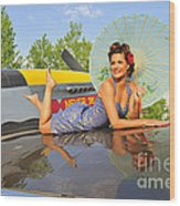 1940s Style Pin-up Girl With Parasol Wood Print
