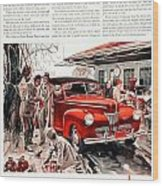 1941 - Ford Super Deluxe Automobile Advertisement - Color Wood Print