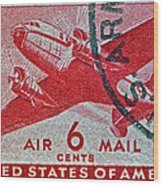 1941 - 1944 Six Cents Air Mail Stamp -  U. S. Army Cancelled Wood Print