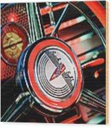 1941 Buick Eight Special Steering Wheel Emblem Wood Print