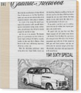 1941 Cadillac Fleetwood Sedan Vintage Ad Wood Print
