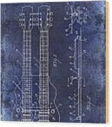 1941 Gibson Electric Guitar Patent Drawing Blue Wood Print