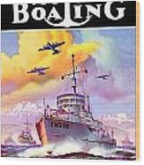 1942 - Motor Boating Magazine Cover - October - Color Wood Print