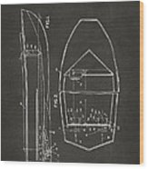 1943 Chris Craft Boat Patent Artwork - Gray Wood Print