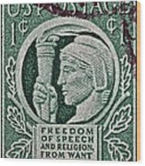 1943 Freedom Of Speech And Religion Stamp Wood Print