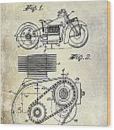 1943 Indian Motorcycle Patent Drawing Wood Print