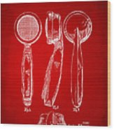 1944 Microphone Patent Red Wood Print