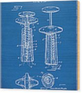 1944 Wine Corkscrew Patent Artwork - Blueprint Wood Print