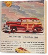 1946 - Pontiac Woodie Station Wagon And Convertible Advertisement - Color Wood Print