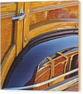 1947 Mercury Woody Reflecting Into 1947 Ford Woody Wood Print