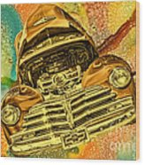 1948 Chev Gold Tie Dye Tilt Car Art Wood Print