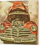 1948 Chev Red Gold Metal Art Wood Print