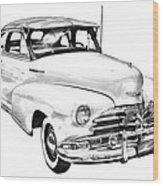 1948 Chevrolet Fleetmaster Antique Car Illustration Wood Print