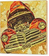 1948 Chevy Gold Acid Art Wood Print