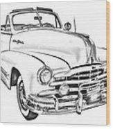 1948 Pontiac Silver Streak Convertible Illustration Wood Print