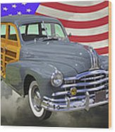 1948 Pontiac Silver Streak Woody And American Flag Wood Print