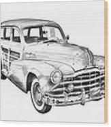 1948 Pontiac Silver Streak Woody Illustration Wood Print