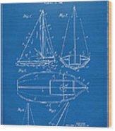 1948 Sailboat Patent Artwork - Blueprint Wood Print