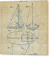 1948 Sailboat Patent Artwork - Vintage Wood Print by Nikki Marie Smith