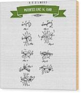 1949 Fish Lure Patent Drawing - Retro Green Wood Print