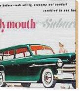 1950 - Plymouth Suburban Station Wagon Automobile Advertisement - Color Wood Print