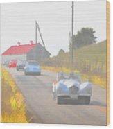 1950 Allard K2 Roadster And Porsche 356's Wood Print
