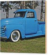1950 Baby Blue Chevrolet Pu Wood Print