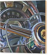 1950 Chrysler New Yorker Coupe Steering Wheel Emblem Wood Print by Jill Reger