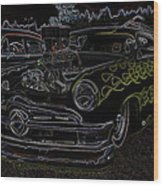 1950 Ford Coupe Neon Glow Wood Print