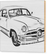 1950  Ford Custom Antique Car Illustration Wood Print